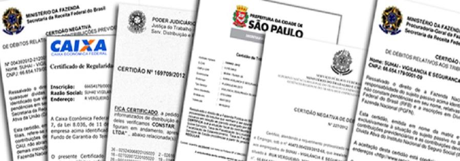 Certidões em Geral - São Paulo, Grande São Paulo, Interior e Litoral